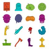 Zombie icons doodle set. Zombie icons set. Doodle illustration of vector icons isolated on white background for any web design Royalty Free Stock Photography