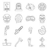 Zombie icons set parts, outline style Royalty Free Stock Photos