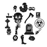 Zombie icons set parts, simple style. Zombie icons set parts. Simple illustration of 16 zombie parts vector icons for web Stock Photos