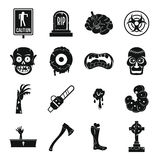 Zombie icons set parts, simple style Royalty Free Stock Photos