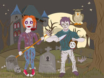 Zombie kids on graveyard Royalty Free Stock Image