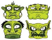 Zombie-Kopfillustration Halloweens grüne furchtsame Stockfotografie