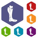 Zombie leg icons set hexagon Stock Image