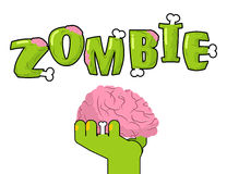 Zombie lettering. Bones and brains. Living dead typography.  Stock Images