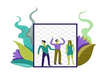 Zombie living undead creatures captured in cage vector. Woman and man infected with dangerous infection changing body type, jail and prison for dead people vector illustration