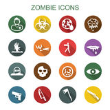 Zombie long shadow icons Stock Photos