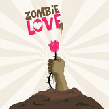 Zombie love. Zombie heart hand love gift flower you valentines day Stock Photos