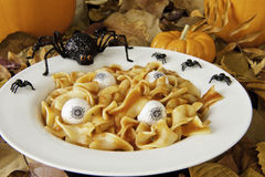 Zombie Lunch. Of noodle brains and eyeballs with Halloween spiders Stock Image