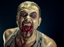 Zombie Man. Portrait of zombie make-up man horror image Stock Photos