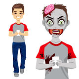 Zombie Man Texting Smartphone Stock Images