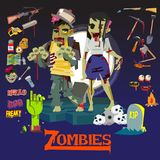 Zombie man and women. character design with icon set. weapon and Stock Photo