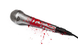Zombie MC. A blood covered microphone isolated on white Royalty Free Stock Photography