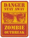 zombie mer mitt portföljtecken undertecknar varning tecknad hand vektor Royaltyfria Bilder