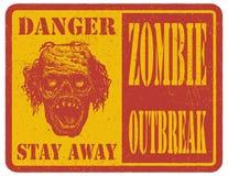 zombie mer mitt portföljtecken undertecknar varning tecknad hand vektor Arkivfoto
