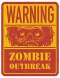 zombie mer mitt portföljtecken undertecknar varning tecknad hand vektor Arkivbild