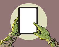 Zombie met tablet stock illustratie