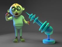 Zombie monster admires his new purchase, a death ray gun, 3d illustration. Render vector illustration
