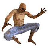 Zombie Monster 3D Illustration. Isolated On White Royalty Free Stock Photography