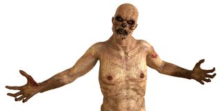 Zombie Monster 3D Illustration. Isolated On White Stock Photography