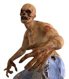 Zombie Monster 3D Illustration. Isolated On White Stock Photos