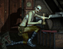 Zombie with an oil lamp opens a chest Royalty Free Stock Images