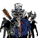 Zombie Oom Sam Royalty-vrije Stock Afbeeldingen