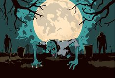 Zombie out of the grave on silhouette background in horror theme. Illustration about Halloween concept Stock Images
