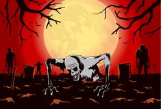 Zombie out of the grave on silhouette background in horror theme. Illustration about Halloween concept Royalty Free Stock Photo