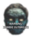 Zombie outbreak. Text 'warning! zombie outbreak!' in white uppercase letters superposed on blurred image of zombie's face, white background Royalty Free Stock Photo