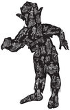ZOMBIE in pajamas, vector illustration. Freehand. Royalty Free Stock Photography