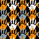Zombie palm seamless black pattern. For decoration of congratulatory products for Halloween Stock Photography