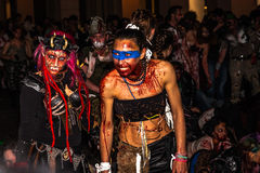 Zombie parade by night Royalty Free Stock Photo