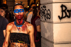 Zombie parade by night Royalty Free Stock Image