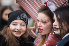 Zombie parade in the streets of Kiev Royalty Free Stock Photo