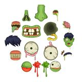 Zombie parts icons set, cartoon style. Zombie parts icons set. Cartoon illustration of 16 zombie parts vector icons for web Royalty Free Stock Image