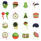 Zombie parts icons set, cartoon style. Zombie parts icons set. Cartoon illustration of 16 zombie parts vector icons for web Stock Images
