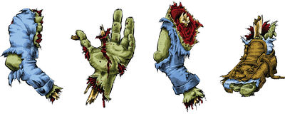 Zombie Parts. A set of cartoon zombie body parts Stock Photography