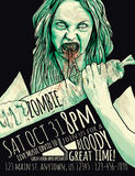 Zombie Party Flyer. With Illustration of feeding zombie girl Stock Image