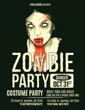 Zombie Party Flyer. With Illustration of Female Zombie Girl royalty free illustration