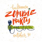 Zombie party - illustration. Halloween greeting card, poster or invitation with hand drawn illustration and calligraphy. Royalty Free Stock Images