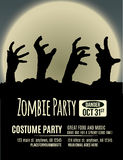 Zombie Party Invitation. Halloween party invitation with zombie hands coming up out of the ground in front of a full moon Royalty Free Stock Photo