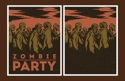 Zombie party invitation. Halloween Poster. Zombie party invitation set Stock Photo