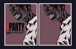 Zombie party invitation. Halloween Poster. Zombie party invitation set Royalty Free Stock Photo