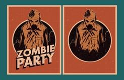 Zombie party invitation. Halloween Poster. Zombie party invitation set Stock Photography