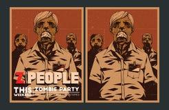 Zombie party invitation. Halloween Poster. Zombie party invitation set Royalty Free Stock Photography