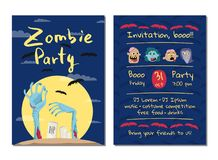 Zombie party invitation with monster hands Stock Photos