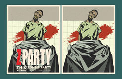 Zombie party invitation template. Royalty Free Stock Image