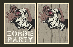 Zombie party invitation template. Vector party Poster. Zombie party invitation set Stock Photography