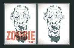 Zombie party placard set. Vector party Poster. Zombie party invitation set Stock Photo