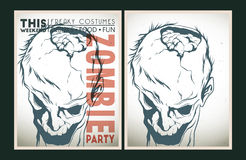 Zombie party placard set. Vector party Poster. Zombie party invitation set Stock Photos